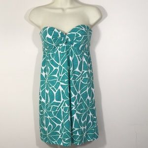 Roxy tide pool strapless dress shirt top aqua SZ S